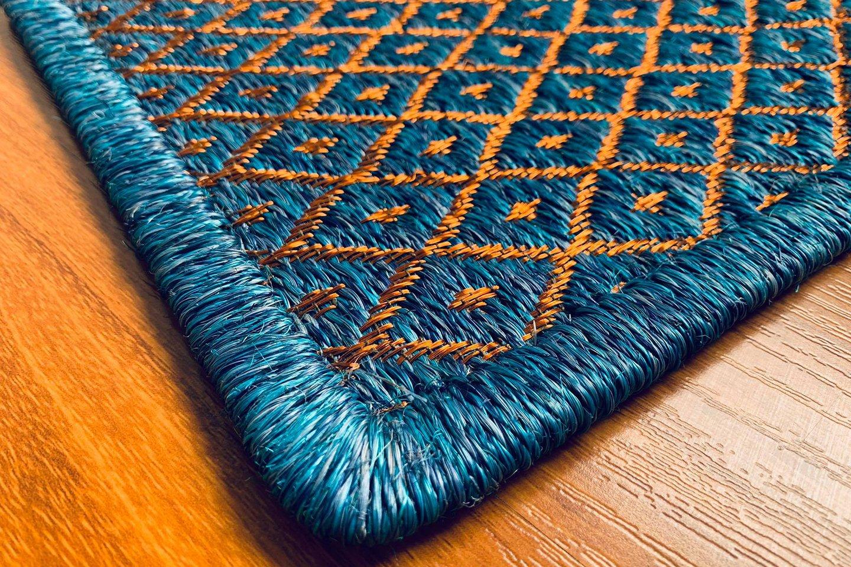 Gôbelins   Tapete Atlante   Gobelins Tapetes Artesanales Atlante Fique azul e hilos de cobre